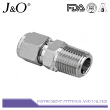 Conector macho de aço inoxidável Conexão de tubo de compressão