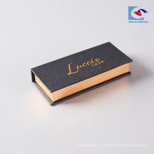 caixa de armazenamento acrílica da colagem do livro do chicote do olho do vison do costume magnética com carimbo da folha de ouro