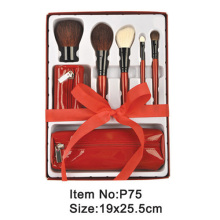 5pcs red plastic handle animal/nylon hair makeup brush tool set with red PU zipper case