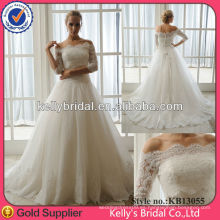 2014 Material de importación de lujo Dos piezas de vestido de boda de encaje francés