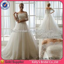 Material de importação de luxo 2014 Vestido de noiva de renda francês de duas peças