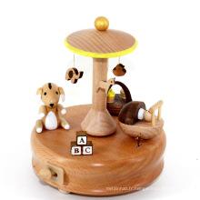 FQ marque magnifique en bois fait sur commande à la main manivelle boîte à musique