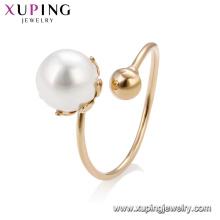15195 graciosa senhoras graciosas jóias design simples pérola imitação anel de dedo ajustável