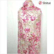 Pink embroidery flower fabric