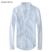 15PKST01 2014-15 Men's plain colour pure linen shirt