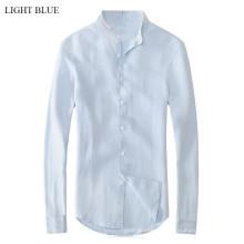 Camisa de linho pura da cor lisa de 15PKST01 2014-15 os homens