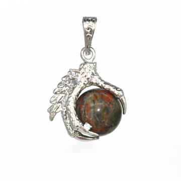 Nuevos productos 2016 Charm Jewelry Unakite Sphere Dragon Ball Garra colgante