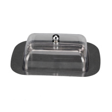 Stainless Steel Metal Saucer Clear plastic Lid