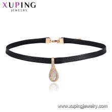44449 Xuping Bijoux Newly Ventes Chaudes Élégant En Cuir Collier Ras Du Cou Avec Cuillère En Forme
