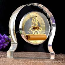 regalo cristal cristal promocional del trofeo del reloj de la cáscara