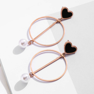 Love Heart Faux Pearl Dangle Hoop Kolczyki