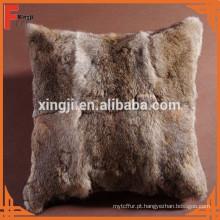 cor marrom natural almofada de coelho lebre para sofá