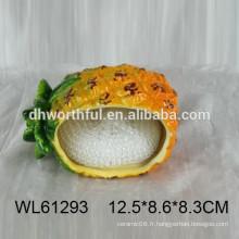 Porte-éponge en céramique à l'ananas pour cuisine