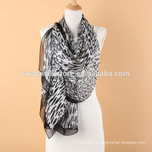 Сексуальная черная леопардовая шифоновая длинная шаль для женщин