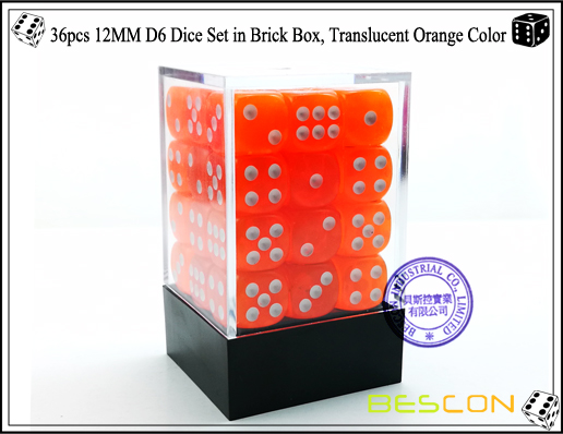 36pcs 12MM D6 Dice Set in Brick Box, Translucent Orange Color-1