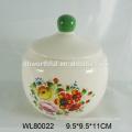 Atacado design popular cerâmica recipiente de armazenamento de alimentos com decalque