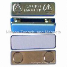 Emblemas magnéticos com base metálica