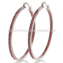 stately steel crystal inside outside cute hoop earrings for girl's