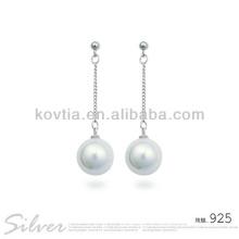 Moda brinco de pérola branca brincos de prata 925