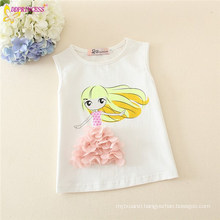 Girl 100% Cotton Patterned Sleeveless Tops With Floral Applique