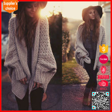 New design long batwing sleeves shawl neck knit women cardigan