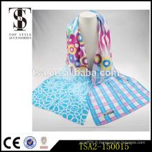Cercle vérifié non récurrent rectaglé mélange mixte combinaison de couleurs foulard peint à la main