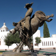 estatua de fundición de bronce estatua de caballo de vaquero de cobre al aire libre grande