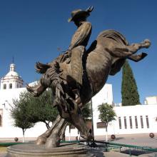 бронза литейная большой открытый медный ковбой лошадь статуя