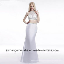 Women Two Piece Beading Crystal Mermaid Evening Party Prom Dress