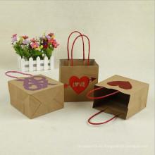 Bolsa de Kraft de amor personalizada con asa