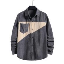 Men′s Clothing Shirts Corduroy Formal Velour England Style Gentleman Shirts