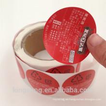 etiqueta autoadhesiva material caliente de los pp de la venta dos de la impresión lateral