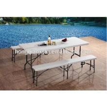 Outdoor-Möbel Tragbare Kunststoff-Faltbank mit 6 Stahl-Beinen (HQ-XZD183)