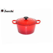 Dark Red Enamel cooking casserole pot