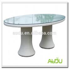 Mesa de jantar de casamento, mesa de jantar oval de casamento branco com vidro