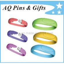 Simples USB pulseira de silicone com cores