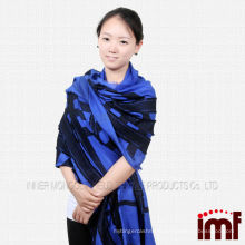 2014 New Arrival Ladies blue shawl Modal Wool Blend shawl and scarf