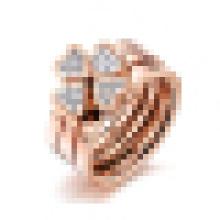 Bague trois-en-un en titane avec anneau en or rose Lucky Grass pour femmes