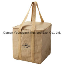 Custom Printed Promotional Reusable Insulated Jute Cooler Bag