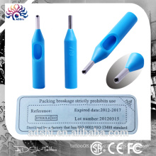 Beauty body art equipment disposable plastic blue tattoo tips, 50pc sterilized tattoo tips