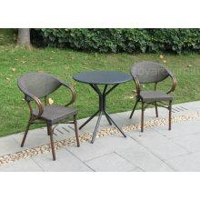Mobiliario de jardín simplemente al aire libre europeo Tabla de bistro y 2 sillas de la pila para la terraza del patio de la casa del café