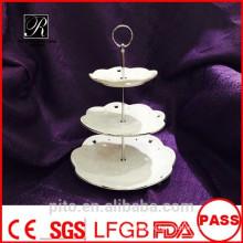 P & T завод керамики, фарфоровые высокие стойки торта чая, стойки торта венчания, круглые плиты