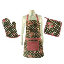 Juego de delantal de cocina y juego de guantes para horno