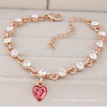 Rosa amor pingente de jóias pulseira design para as meninas novos desenhos pulseira de ouro