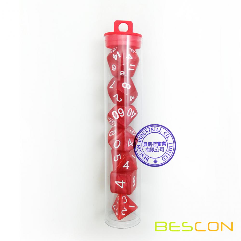 Bescon Marble Red Colored RPG D&D Dice Set of 7 plus Tube Package
