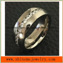 Shineme Jewelry Popular High Quality Zircon Titanium Jewelry Ring (TR1870)
