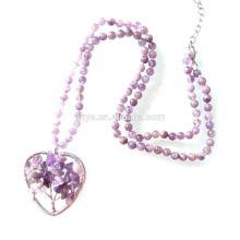 Collier perlé naturel améthyste arbre de vie