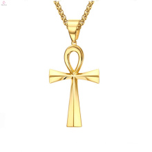Stainless Steel Jewelry Gold Vintage Egypt Eternal Life Cross Pendant Ankh Necklace
