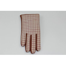 brown sheepskin palm+hand back Color matching brown checked polyester fabric leather gloves fashion women daily Accessories