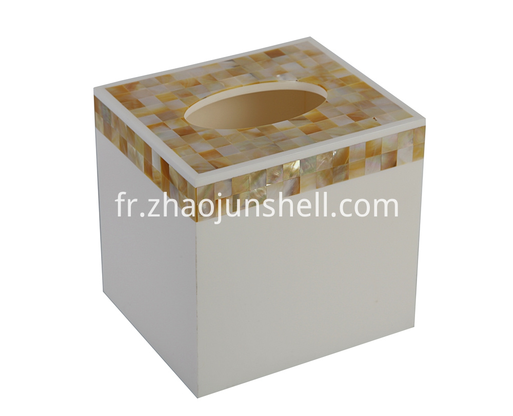golden mother of pearl square tissue box
